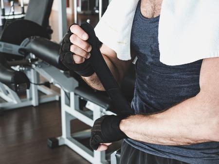 Man preparing for strength training