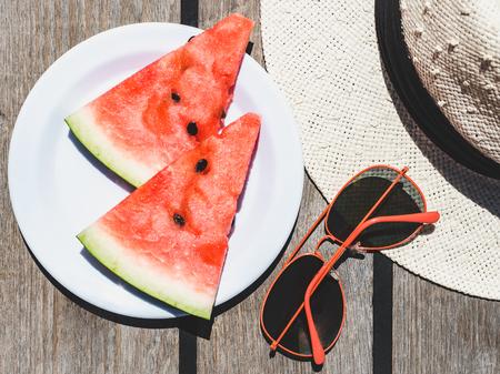Slices of ripe, juicy watermelon