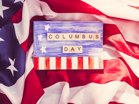 Beautiful Greeting Card on Columbus Day. Preparation for the holiday