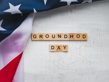 Groundhog Day Background. Close-up, top view, isolated. Congratulations for friends, loved ones, relatives and colleagues Foto de archivo