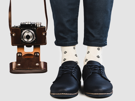 Mens legs, bright socks and stylish shoes Archivio Fotografico