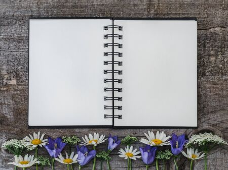 Beautiful bouquet of bright flowers, blank notepad page and unpainted boards. Place for your inscription. Top view, close-up. Congratulations to loved ones, family, relatives, friends and colleagues Фото со стока