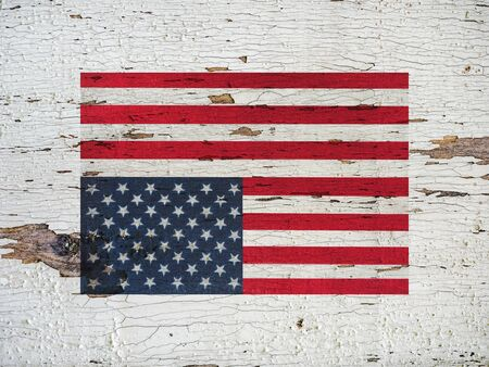 American Flag. Beautiful greeting card. Close-up, view from above. National holiday concept. Congratulations for family, relatives, friends and colleagues Stock Photo