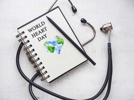 Happy World Heart Day. Beautiful card. Close-up, Archivio Fotografico