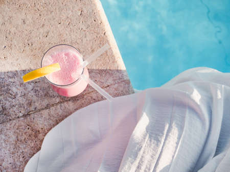 Glass with a beautiful milkshake. View from above 版權商用圖片