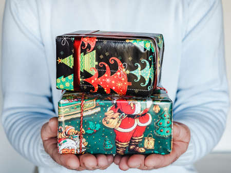 Festive boxes with New Year and Christmas patterns