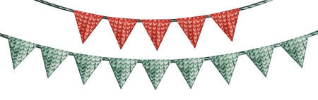 Holiday decorations in the form of colorful flags Standard-Bild