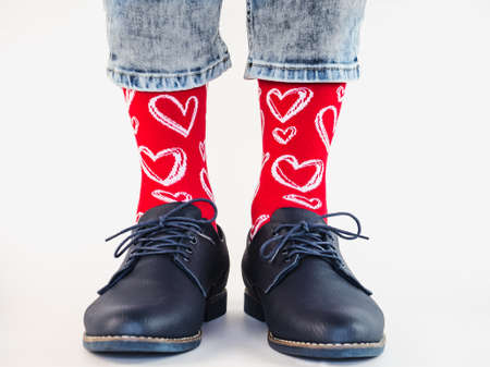 Mens legs, trendy shoes and bright socks