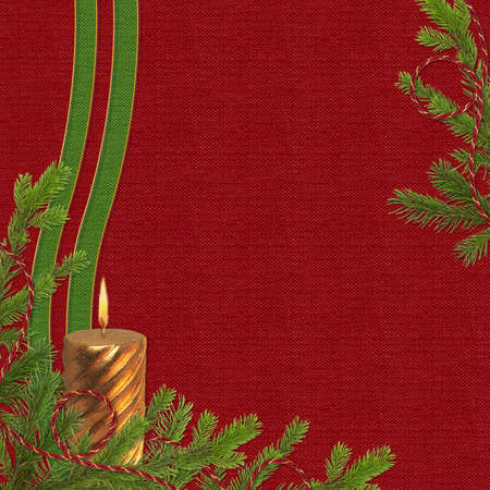 claret: Claret card for the holiday with spruce branches and candle