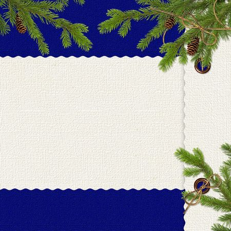 adorning: Card for congratulation with spruce branches and cone on the dark  blue background