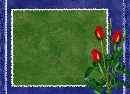 Green card with red rose on the darkblue background photo