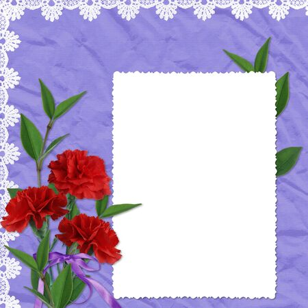 White frame with flower and ribbons on the violet background photo