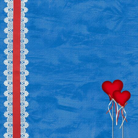 Valentines day card with hearts on the abstract blue background photo