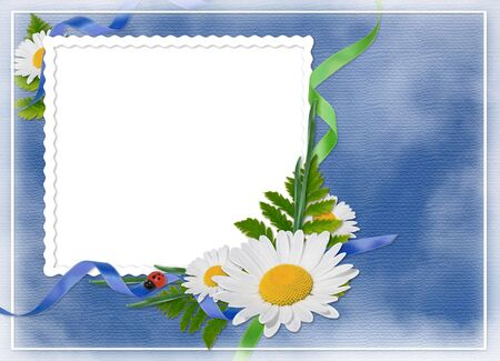 White frame with a bouquet of flowers on the blue background photo