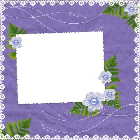 White frame with flowers and plants on the lilac background photo
