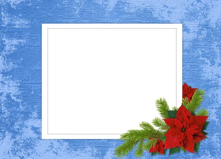 adorning: White frame with branches and flowers on the blue background