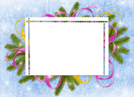 adorning: White frame with branches and ribbon on the blue background