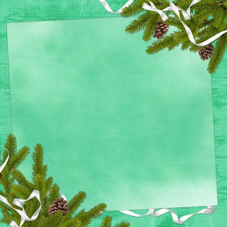 Card for congratulation with branches and ribbon on the green background