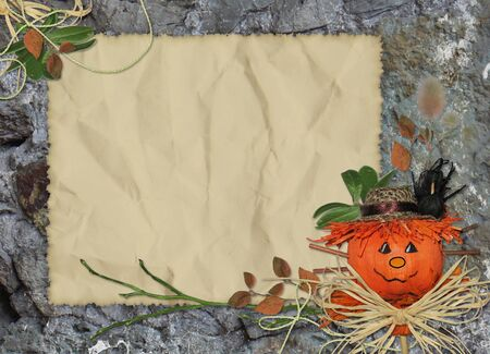 crushed: Crushed paper with scarecrow and branch on the abstract background
