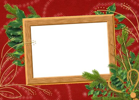 claret: Wooden frame with spruce branches on the claret background