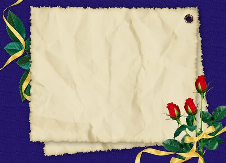 Crushed paper with roses and ribbons on the dark blue background photo