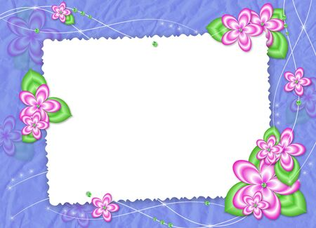 White frame with pink flowers on the blue background photo