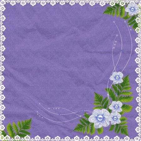 Lilac card for the holiday with flowers and plants  photo