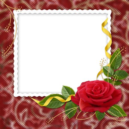 White frame with the rose and ribbons on the red background photo