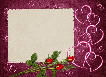 wedlock: Vintage card from old paper and rose on the abstract background