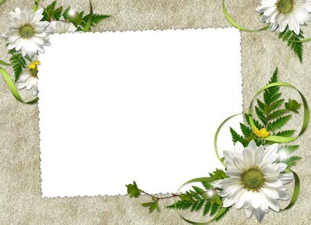 White frame with flowers and ribbons on the abstract background  photo