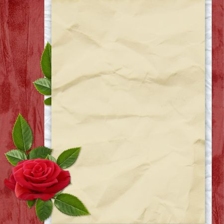 Crushed paper with rose and leaves on the red background