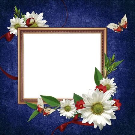 Gestell White mit Blumen und Farbbänder auf dem abstrakten Hintergrund