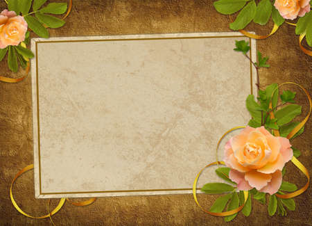 dekor: Vintage card from old paper and rose on the abstract background