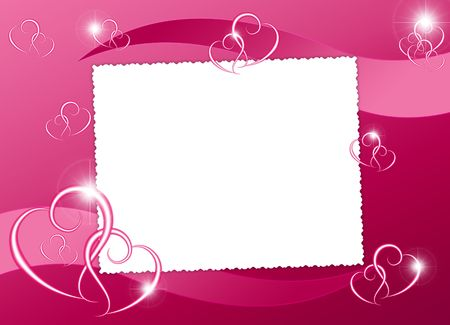 dekor: White frame with heart on the abstract background Stock Photo