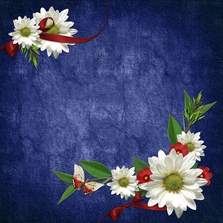 dekor: Card for the holiday  with flowers and ribbons on the abstract background