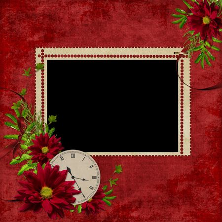 dekor: White frame with flowers and clock on the abstract background  Stock Photo