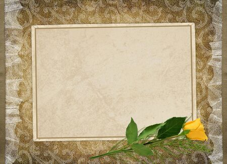 Card for the holiday with yellow rose on the abstract background photo