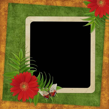 alienated: Vintage card for the holiday  with flowers on the abstract background
