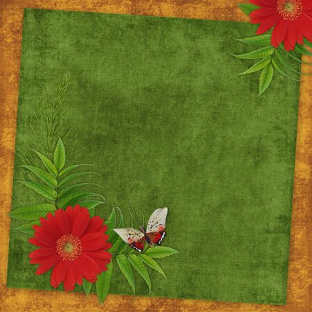 dekor: Vintage card for the holiday  with flowers on the abstract background