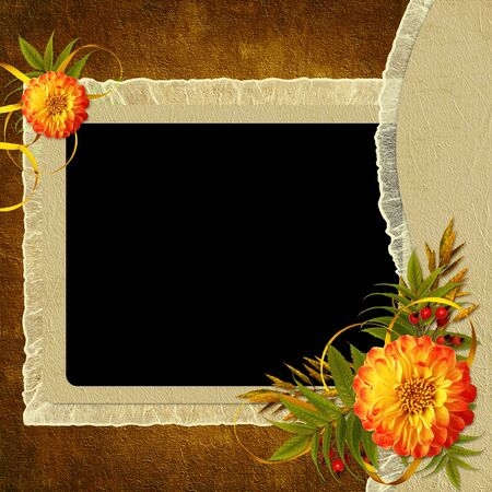wedlock: Vintage card for the invitation or congratulation with flower