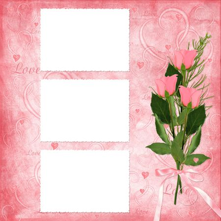 Valentines day card with rose on the abstract blue background Stock Photo - 6304335