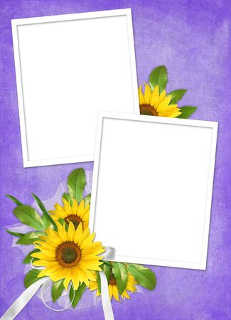 Card for the holiday  with flowers and ribbons on the abstract background photo