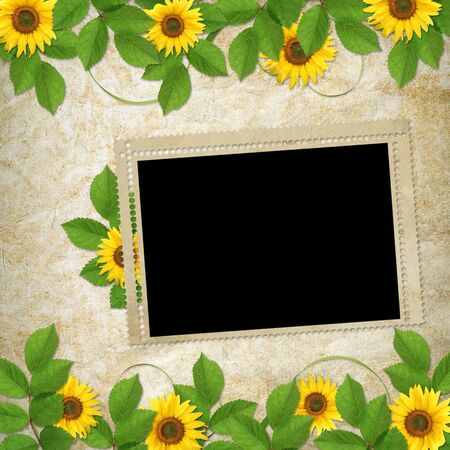 Card for the holiday  with flowers on the abstract background Stock Photo - 6397873