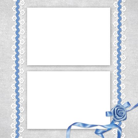 wedlock: Card for invitation or congratulation with white laces on the abstract background