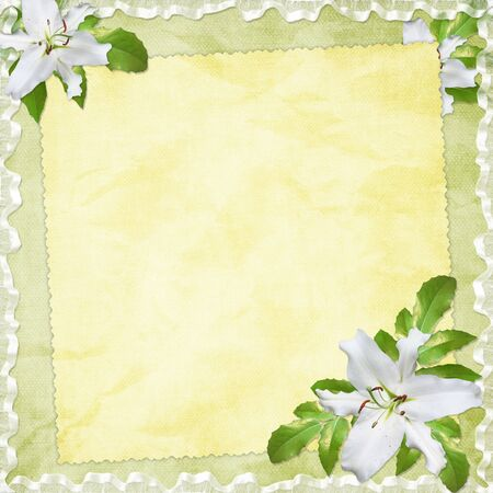 Card for the holiday  with flowers on the abstract background Stock Photo - 6588168