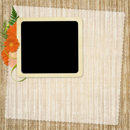 Card for the holiday  with flowers and ribbons on the abstract background Stock Photo - 6588180