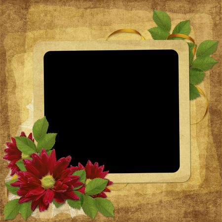wedlock: Vintage card for the holiday with flower on the abstract background