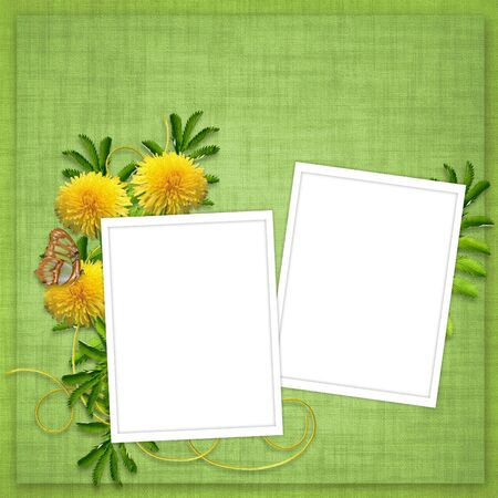 Card for invitation or congratulation with flowers on the abstract background photo