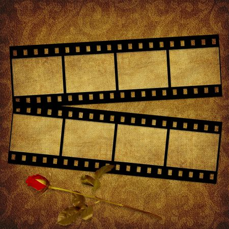 film history: Grunge graphic abstract background with film