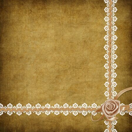 Card for invitation or congratulation with white laces on the abstract background photo